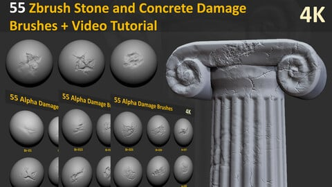55 Zbrush Stone and Concrete Damage Brushes + Video Tutorial