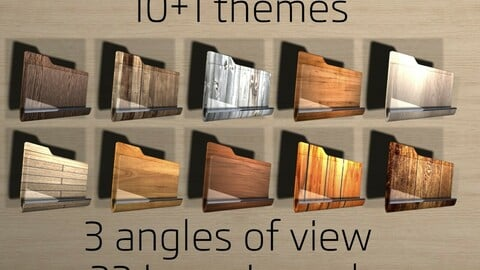 Wooden folder icons (pack of 33 icons-11themes-3angle view)