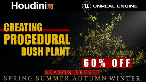Houdini Tutorial Procedural Bush Plant in Unreal Engine 4