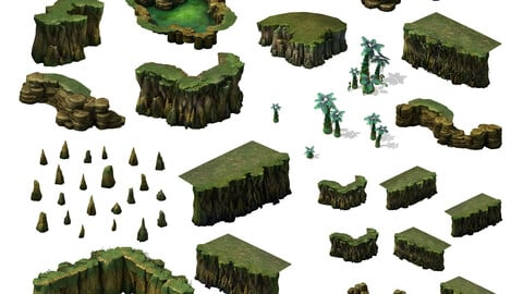 2.5D Mountain Rocks Trees Flower Game Assets Collection
