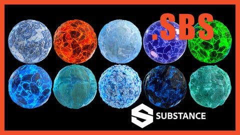 Stylized Emissive Glowing Ice Snow Rock Ground Terrain Material PBR Texture PACK .SBS BUNDLE