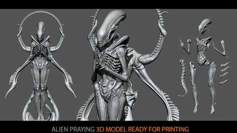 Alien Praying, 3D model ready for printing (.STL parts included)