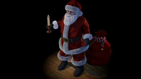 Santa with Toy Bag and Candle