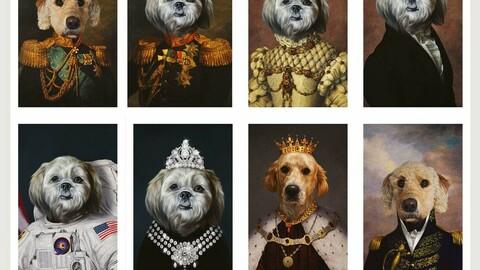 100+ Historical classic royal pet portrait templates