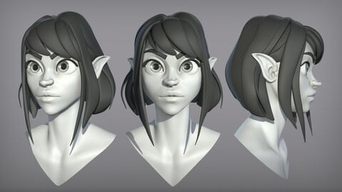 Cartoon female character Elf base mesh