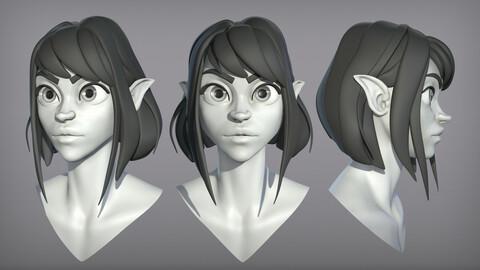 Cartoon female character Elf base mesh