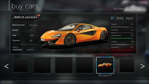 Racing Game GUI Pack.