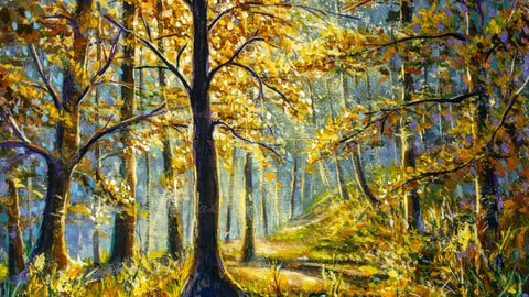 Painting beautiful forest with bright sun shining by Rybakow