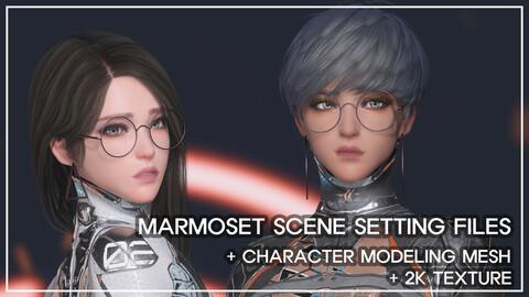 Sci-fi plugsuit Marmoset scene setting
