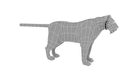 3D model low poly tiger base model