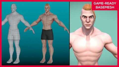Stylized Male Character basemesh - Rigged