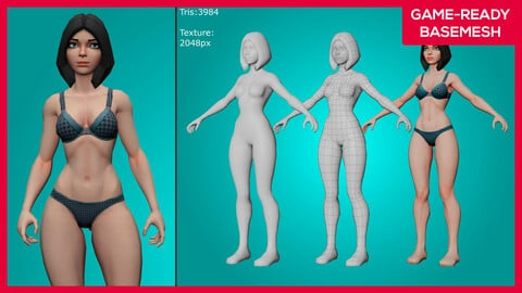 Kirah - Stylized 3D Female Basemesh - Game Ready
