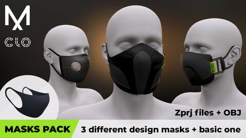 Masks pack: 3 different design masks + basic one