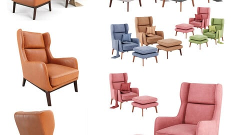 Ryder Leather And Velvet Chair (Corona, Vray)