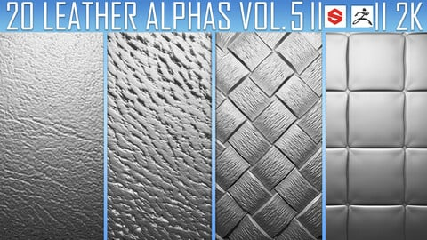 20 Leather Alphas Vol.5 (ZBrush, Substance, 2K)