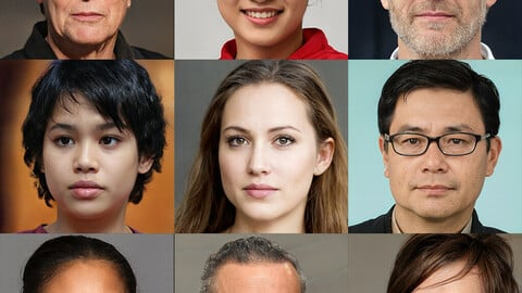 Portraits photo of people 1000 (part4). Faces human: Asian, Black, European, Caucasian, Indian
