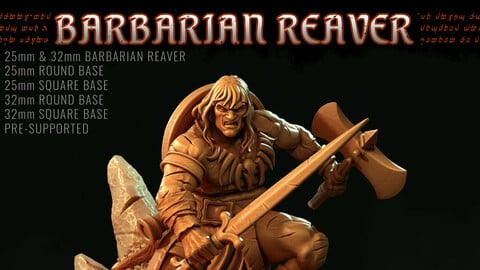 Barbarian Reavers 32mm Pre-Supported 3D Print STL