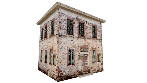 3D old low poly building model