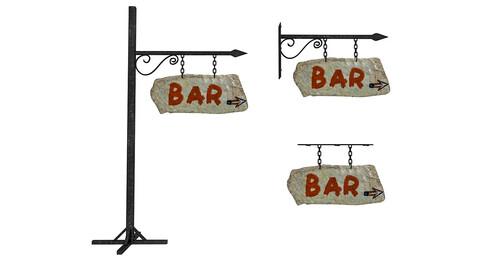 3D old stone bar sign 02 model