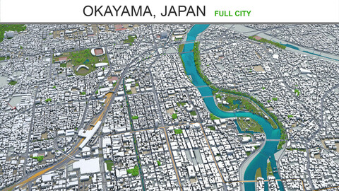 Okayama city  Japan 3d model 100km