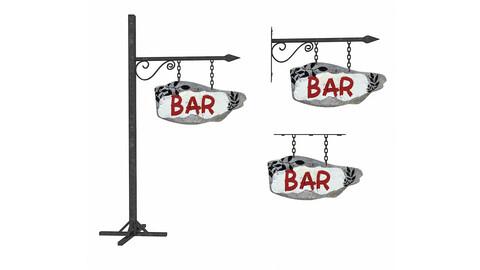 3D old wooden bar sign 02 model