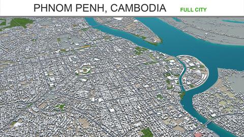 Phnom Penh city Cambodia 3d model 50km