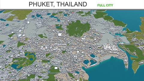 Phuket city Thailand 3d model 60km
