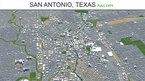 San Antonio city Texas 3d model 80km