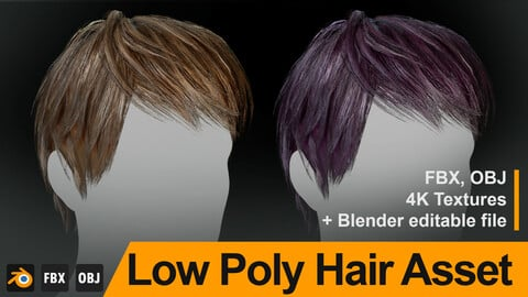 "Low Poly Male Hair ""Style M01"" - FBX/OBJ + Blender source file, 4K Textures"