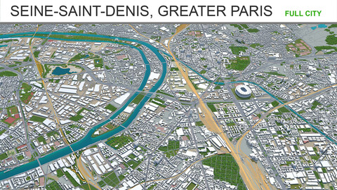 Seine-Saint-Denis city Greater Paris 3d model 30km