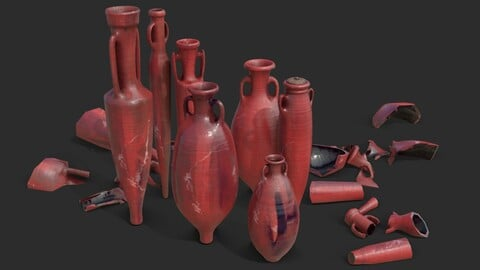 Amphora - Red Oiled Painted Terracotta