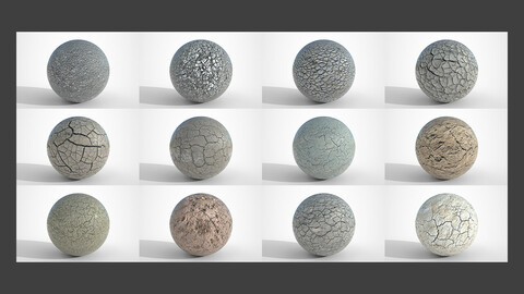 Set of 12 Various Dry Cracked Soil Textures PBR Volume 4
