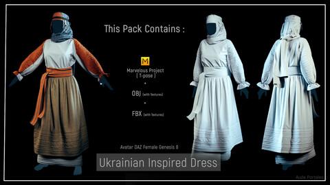 Ukrainian Inspired Dress - Marvelous Designer