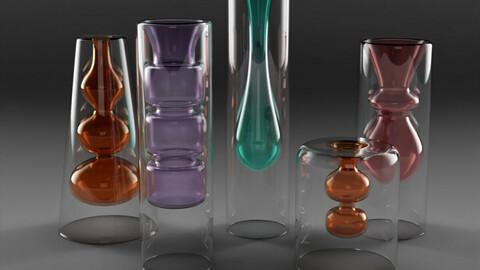 Yves Coloured Glass Vase Set
