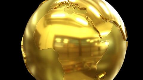 World Globe, Earth Globe Gold 3D Model Element 3D