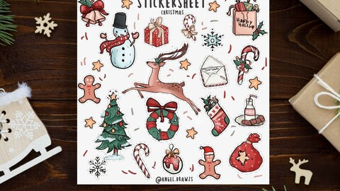 Christmas Holiday Sticker Sheet pack