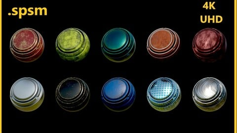 Substance Painter Smart Material ( Metallic Series 1-10)