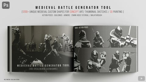 Medieval Battle Generator tool [1200+ Unique Custom shapes Mega Pack]  [PS]
