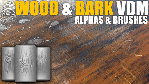 Wood & Bark Brushes for ZBrush (24 VDM + Alphas)