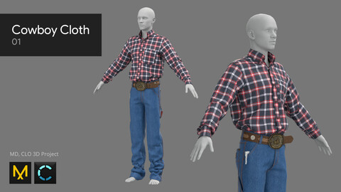 Cowboy Cloth 01 - Marvelous Designer, CLO 3D
