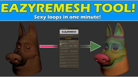 EaZyremesh Tool! A retopology plugin for Zbrush.