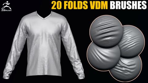 20 Folds VDM Brush for ZBrush + 20 Alphas (PSD)