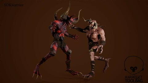 Monster Mutant 3 low poly game model
