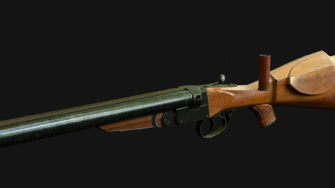 Double-barrel shotgun IZH-54 Low poly game model