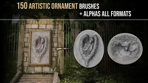 150 Artistic Ornament Brushes + Alphas All Formats