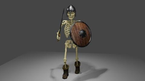 Skeleton Warrior Medieval - Animated 3D model