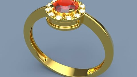Gold Ring Gemstone 3D print model, Gold Ring 3D model