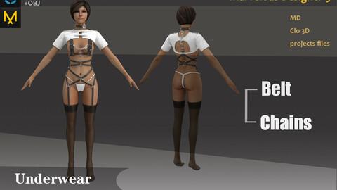Woman's Sexy Outfit_Underwear_Clo3d, Marvelous designer.
