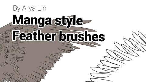 Manga style feather brush