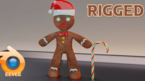 Lowpoly Gingerbread Man Rigged